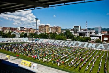 Earlier this year, Kosovo-born artist Alketa Xhafa-Mripa hung thousands of dresses in the football stadium in the city of Pristina as tribute to survivors of conflict-related sexual violence.