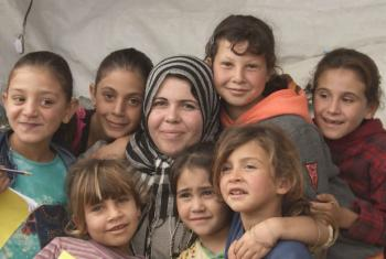 Seeking to step into the gap and provide children with an education, Syrian refugee and former teacher Fatima has transformed her tent into a school. Image from UNHCR's video 'Lebanon – Homeschooling In A Tent'