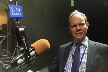 President of the Council and British Ambassador to the UN, Matthew Rycroft, at the UN Radio studios. UN Radio Photo/Daniel Dickinson