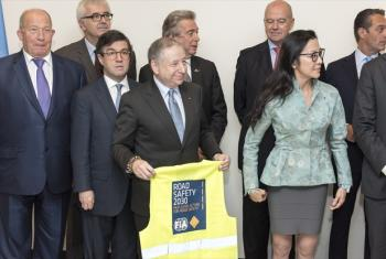 The Fédération internationale de l'Automobile (FIA) launched a High-level Panel for Road Safety at UN Headquarters in New York. Participants of the launch, including Jean Todt (holding vest), Chairman of the Panel, who is also President of the FIA and the