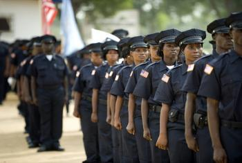The thirty-third class of police officers of the Liberian National Police (LNP) participate in a graduation ceremony. UN File Photo/Christopher Herwig