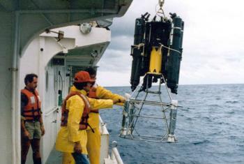 Scientists perform Rosette sampling in the ocean, Monaco 2007. File