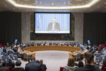 A wide view of the Security Council meeting on the situation in the Middle East, including the Palestinian question. The Council was briefed via video teleconference by Nickolay Mladenov, UN Special Coordinator for the Middle East Peace Process and Person