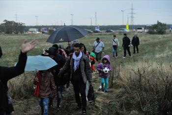 Mostly Syrian refugees crossing a stretch of wasteland between Hungary and Austria.