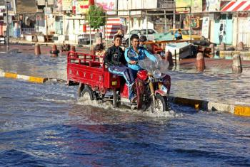 A flooded street in Baghdad, after heavy rain in late October 2015 inundated several areas of Iraq. Québec announced $6 CAD million to Least Developed Countries Fund, at COP21.