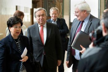 Emergency Relief Coordinator Stephen O'Brien (right), refugee agency chief António Guterres (centre) and Director-General of WHO Margaret Chan (left) arrive for the launch of the Global Humanitarian Appeal 2016 to support people affected by disasters and