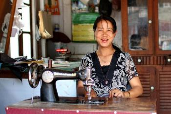 A seamstress in Chin State, Myanmar. File