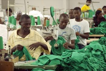 "Sewing machine operators work at the ""Multiwear"" Factory at Sonapi Industrial Park, Port-au-Prince."