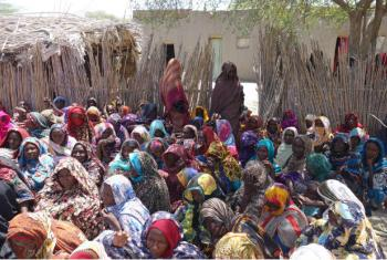 Internally displaced Chadian women, who fled Boko Haram threats, living with host families in Baga-Sola.