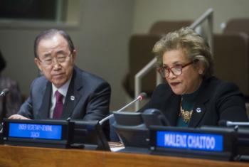 Catherine Pollard, Under-Secretary-General, Department of General Assembly and Conference Management, and UN Secretary-General Ban Ki-moon.