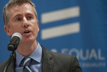 """Charles Radcliffe, Officer-in-Charge of the New York Office of the UN High Commissioner for Human Rights, speaks at the Special Event on """"The Economic Cost of LGBT Exclusion"""" in December 2015."""