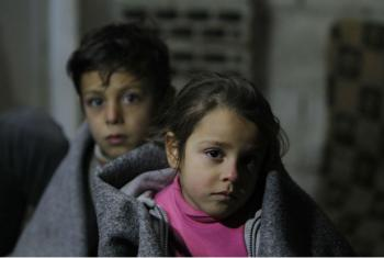 On 5 January 2016, Ghinwa, 7, and her brother Alaa, 11, at Al-Khalidia Al-Khamisa informal settlement in Homs, Syria. Photo