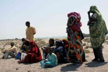 Somali refugees wait on Yemen's Red Sea coast for transport to Aden. File