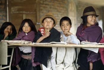 Young Salasaca Indians in Ambato, south of Quito, Ecuador. File