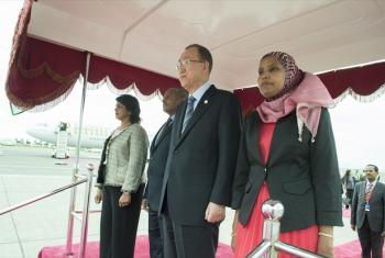 Secretary-General Ban Ki-moon arrives in Addis Ababa to attend the AU Summit. On his left (the Lady) is President of Republic of Mauritius.Bibi Ameenah Firdaus Gurib-Fakim.