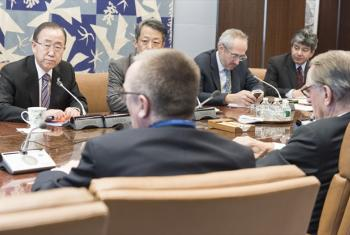 Secretary-General Ban Ki-moon (top left) meets with senior advisers, including Deputy Secretary-General Jan Eliasson (foreground right), on the underground nuclear test announced by the Democratic People's Republic of Korea (DPRK) on 6 January. Also pictu