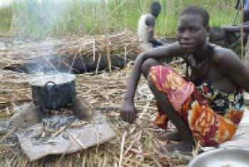An internally displaced woman cooks her last supply of sorghum.