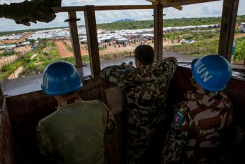 Peacekeepers of the UN Mission in Sudan (UNMISS) man a guard post overlooking a POC (Protection of Civilians) site in Juba.