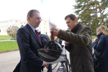 Walter Nissler (left) speaking to Daniel Johnson.