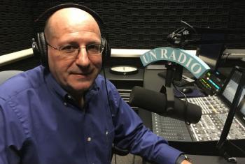 Jerome Longue in the UN Radio studios. UN Radio Photo/Matthew Wells