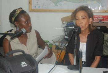 MINUSTAH FM interviewing Deputy Special Representative Kim Bolduc following the earthquake in 2010.