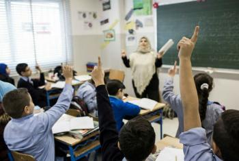 Syrian students in class in Beirut, Lebanon.