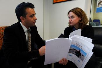 Danielle Bell (right) is interviewed by Hamed Haleemi.