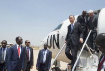 SG Ban Ki-moon arrives in Juba, South Sudan.