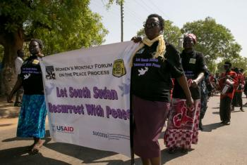 South Sudanese women take part in a rally and prayer event in Juba.