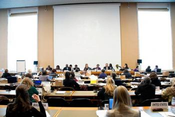 Delegates attend a meeting of the Geneva-based Committee on the Elimination of Discrimination against Women (CEDAW).