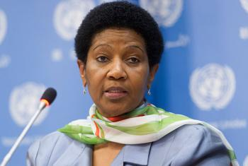 Executive Director of the United Nations Entity for Gender Equality and the Empowerment of Women (UN Women), Phumzile Mlambo-Ngcuka, briefs journalists.