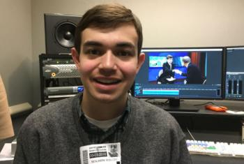 Ben Rosloff works on his film in the edit bay.