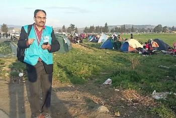 Babar Baloch at the border between Greece and the Former Yugoslav Republic of Macedonia.