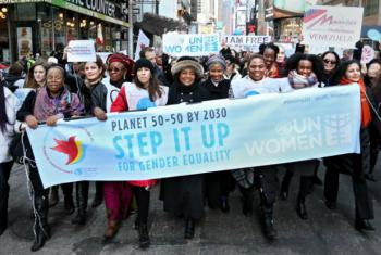 March in New York - International Women's Day 2015. File