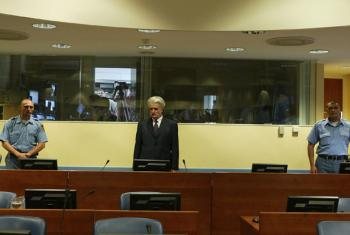 Radovan Karadžić at his initial appearance in court, July 2008.
