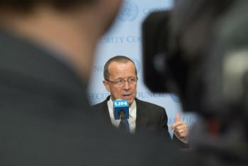 Martin Kobler, Special Representative of the Secretary-General and Head of the UN Support Mission in Libya (UNSMIL), speaks to journalists following his briefing to the Security Council.