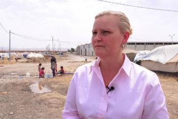 Lise Grande in a visit to Baharka IDP camp in northern Iraq. UNICEF File Photo
