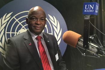 Edwin Batshu, Minister of Labour and Home Affairs in the UN Radio Studios in New York. UN Radio Photo/Daniel Dickinson