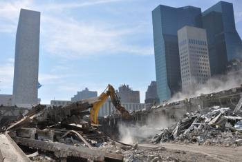 The demolition site of the North Lawn Building, with the UN Secretariat in the background.