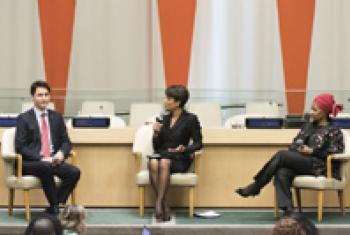 Sade Baderinwa moderates a dialogue on gender equality between Justin Trudeau (left) and Phumzile Mlambo-Ngcuka (right),