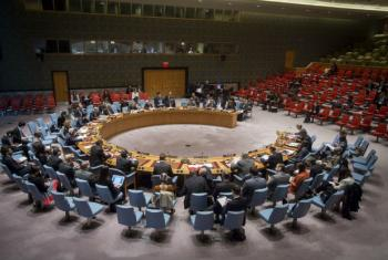 A wide view of a Security Council meeting.