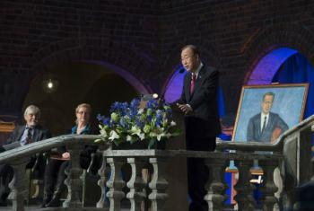 Secretary-General Ban Ki-moon delivers the 2016 Dag Hammarskjöld Lecture in Stockholm, Sweden.