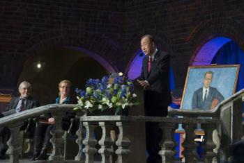 Secretary-General Ban Ki-moon delivers the 2016 Dag Hammarskjöld Lecture in Stockholm, Sweden.