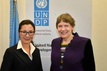 Newly-appointed Goodwill Ambassador Michelle Yeoh with UNDP Administrator Helen Clark.