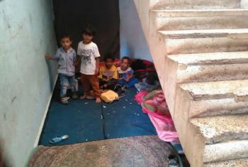 Displaced Yemeni children living in school corridors in Amran governorate where schools hosting IDPs are already filled to capacity.