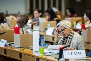 Delegates during a meeting of the 56th session of the Committee on the Elimination of Discrimination Against Women (CEDAW) in Geneva, Switzerland.