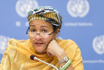 Amina Mohammed addresses a press conference.