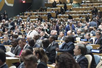 View of the GA Hall Opening Signing Ceremony of the Paris Climate Treaty.