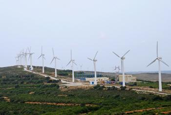 Wind turbine farm in Tunisia.