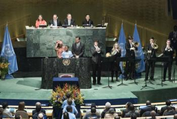 Paris Climate Agreement Climate ceremony at UN headquarters in NY.